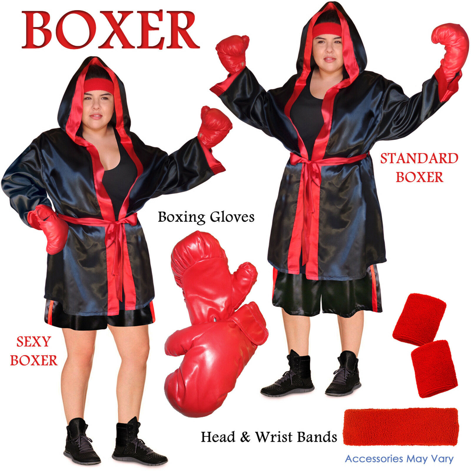 Boxer Robe Tank & Shorts PLUS Größe Halloween Boxing Champ Costume Kit 0x to 8x