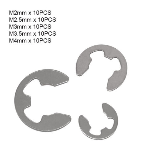 50pcs M2,2.5,3,3.5,4 E-Clips Snap Ring Circlips Retaining Kit A4 316 Stainless