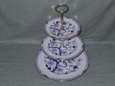 Royal Grafton Dynasty 3-Tier Hostess China Cake Plate Stand Blue & White