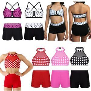 Girls-Ballet-Gym-Workout-Dance-Wear-Kids-Sport-Polka-Dots-Crop-Tops-Shorts-Set