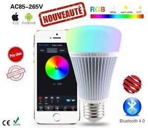 Lampe Ampoule led smart bluetooth rgb + Blanc froid et chaud