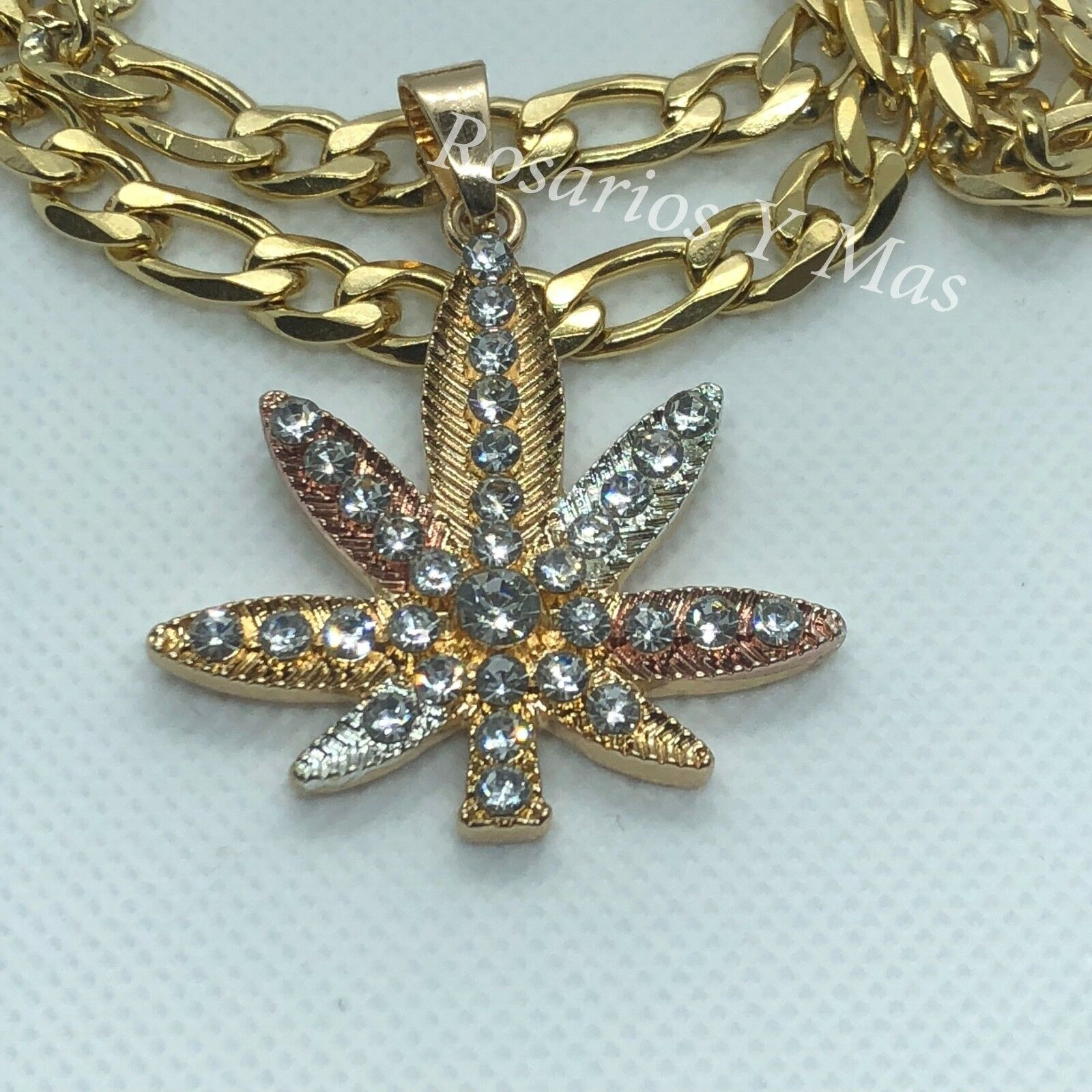 Marijuana gold Laminado Medalla con Cadena de 26  Tres golds Mariguana Planta