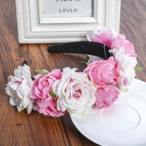 Boho Girl Floral Crown Rose Flower Headband Bridal Hair Garland Hair Accessories