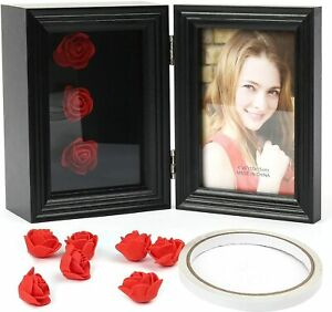 Black Deep Shadow Box Picture Frame for 4x6'' Photos Wood Memory Shadow Flowers