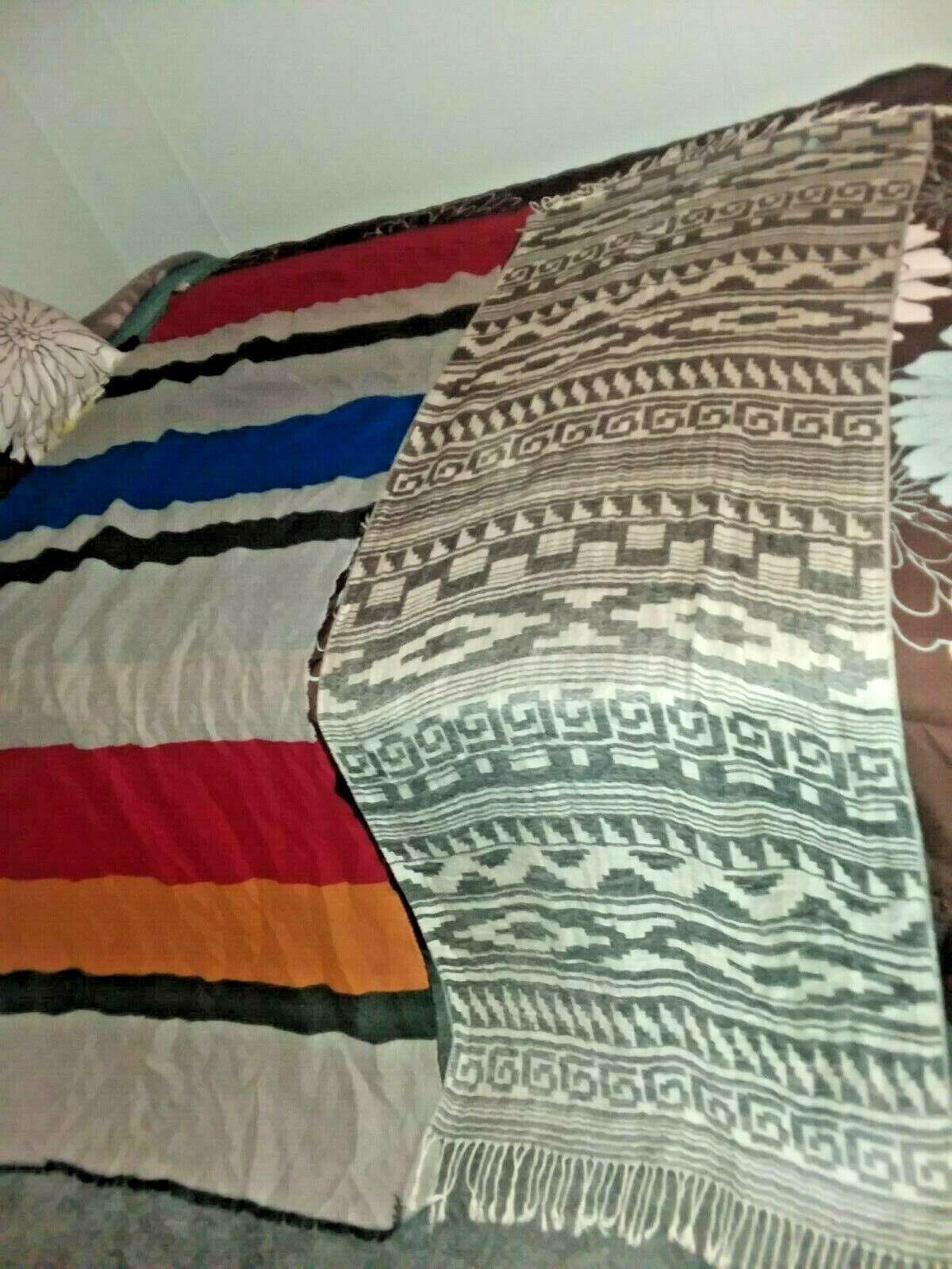 Pair Blanket Stripe & Design Wrap Shawls Blanket theme 36 x 80