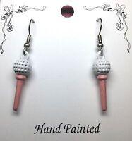 Hand Painted Golf Ball On Tee Charm Earrings