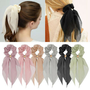 Soild-Ponytail-Scarf-Hair-Bow-Ties-Floral-Bow-Scrunchie-Women-039-s-Ribbon-Hair-Band