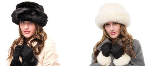 Neuf Hiver Femmes Cosaque Chaud Fourrure synthétique Cloche Chapeau Et Gant Lot