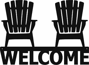 Image Is Loading Extra Large Welcome Adirondack Chairs Metal Sign Art