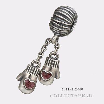 Authentic Pandora Sterling Silver Dangle Winter Mittens Bead  791181EN46