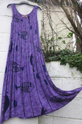 SLEEVELESS MAXI DRESS TIE DYE FISH DESIGN ONE SIZE 12-24  ETHNIC BOHO HIPPY