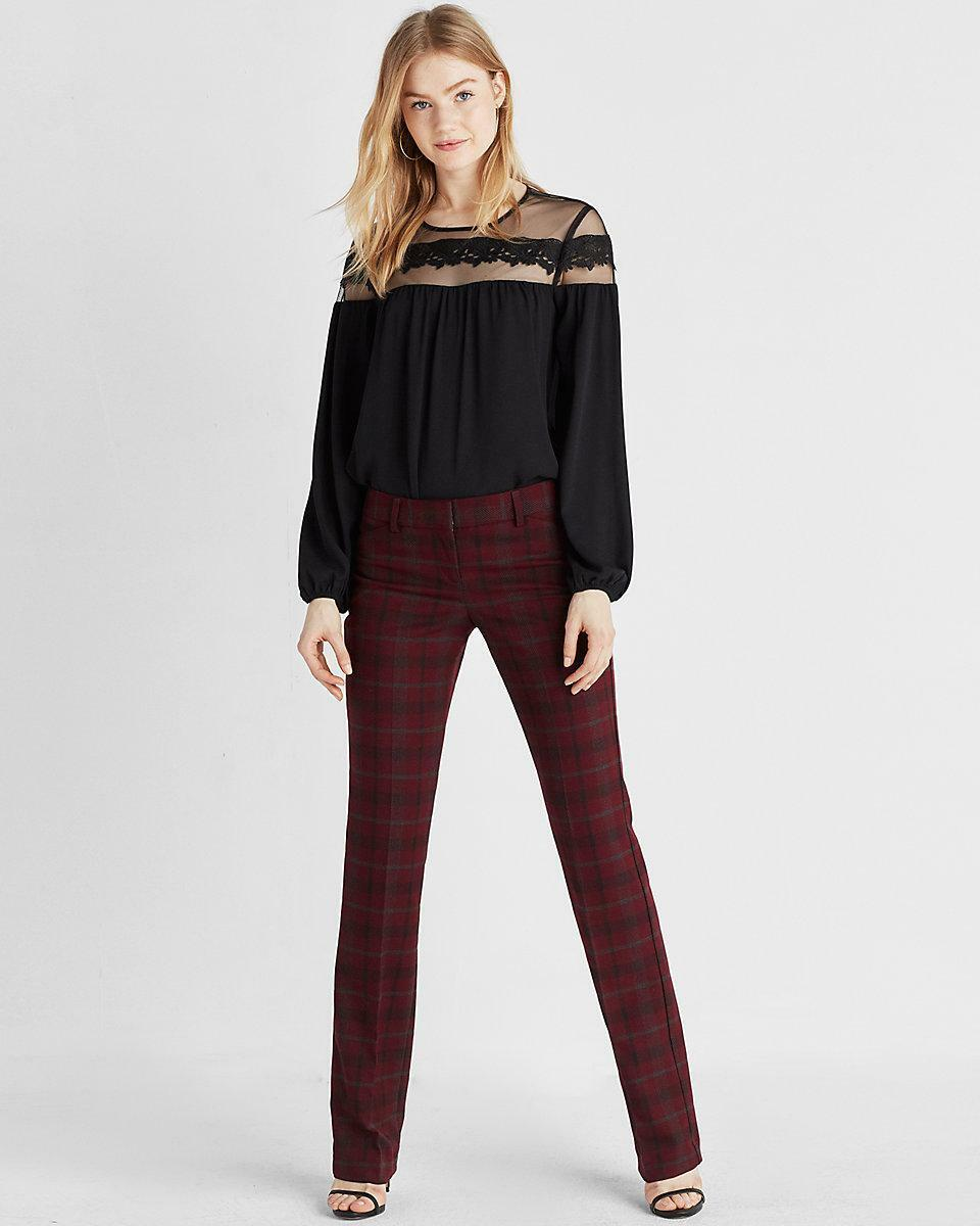 NEW EXPRESS  80 BURGUNDY LOW RISE PLAID BARELY BOOT EDITOR PANTS SZ 0