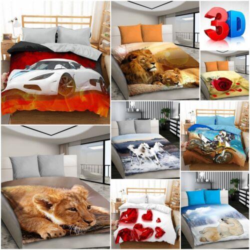 Double Size 3D Bedding Set Duvet Cover Animal Print Birthday Gift 200 x 200cm