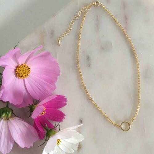 Simple Circle Choker Necklace Gold Silver Plated Collar Chian Jewelry BC