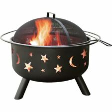 Landmann Big Sky Stars and Moons Durable Steel Wood Fire Pit with Accessories