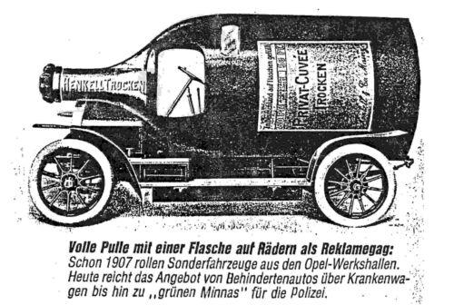 Opel Flaschenauto Henkell Sekt 1907 KIT Bausatz made by Hera 1:43 selten rare