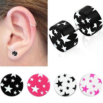 Pair Acrylic Black Star Post Pierced Ear Plugs Two Tone 2G-0G Illusion Jewelry