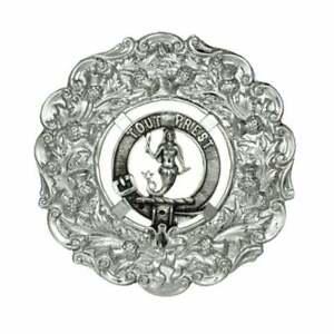 Soigneux Art Pewter Murray (of Atholl) Clan Crest Plaid Broche 211b-c89 Brillant En Couleur