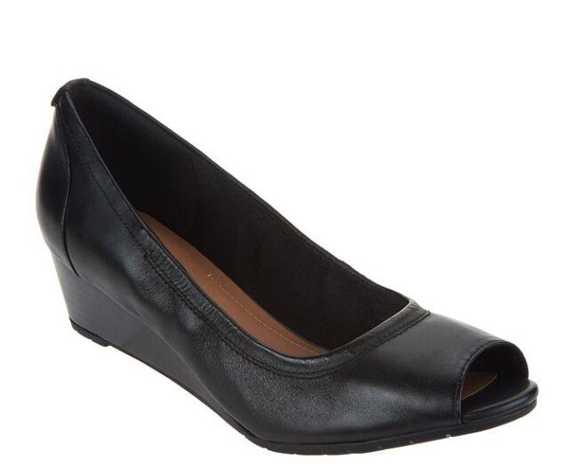 6f7fd39da71e Clarks Women s Size 6 M Vendra Daisy Black Leather Peep Toe Wedge Heels  Pumps