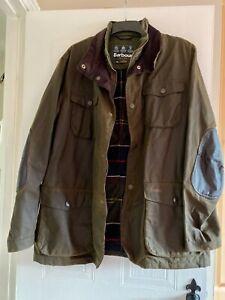 XXL-Men-039-s-Barbour-Classic-Tartan-Ogston-Wax-Jacket-in-Olive