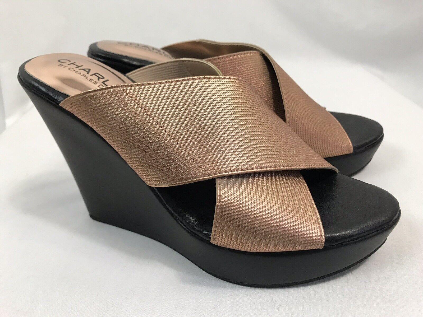 Charles Damen 5.5M Größe Sandalen, Keilabsatz Kupfer David