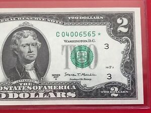 1976 Two 2 Dollar Star Note Philadelphia Uncirculated