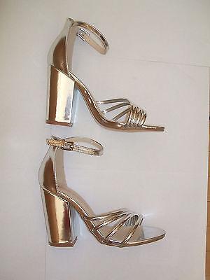 Dolcis Talla 4 Adeline Plata Espejo alto Bloque talón y Correa en el Tobillo Zapatos Sandalias