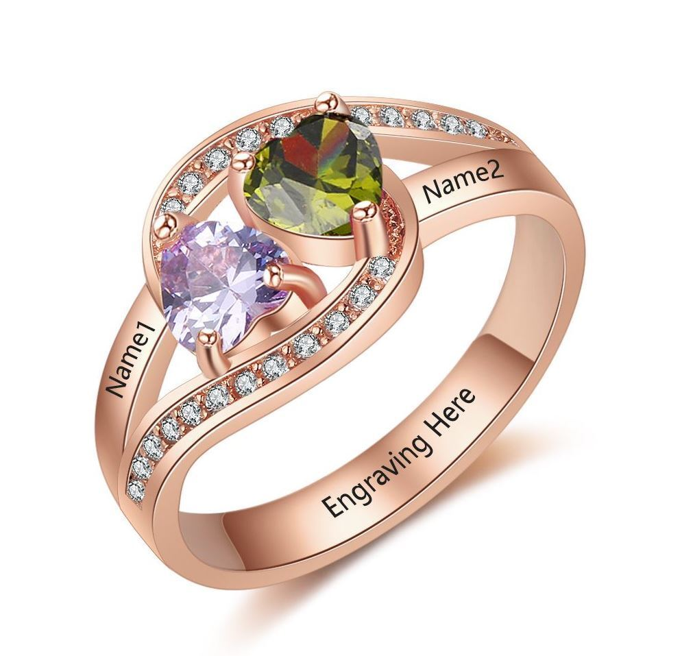 Birthstone Promise Ring with Engraved Names 14k pink gold IP