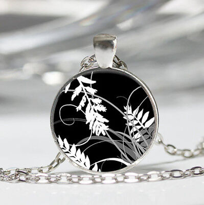 Autumn Leaves Black Dome Glass Cabochon Necklace chain Pendant #30