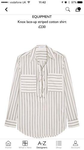 £230 Knox Small Cotton Lace New Xs Striped S Shirt Sleeve Up Long Equipment EwanUC7cqw