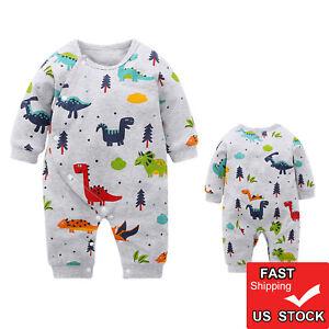 4d64d5eaae5 USA Toddler Kids Baby Boy Girl Romper Newborn Animal Dinosaur ...
