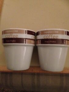 TWO WHITE WITH ASSORTED COFFEE NAMES ROUND TOP IN BROWN 039PEGASUS039 COFFEE MUGS - <span itemprop=availableAtOrFrom>Garmouth, Moray, United Kingdom</span> - TWO WHITE WITH ASSORTED COFFEE NAMES ROUND TOP IN BROWN 039PEGASUS039 COFFEE MUGS - Garmouth, Moray, United Kingdom