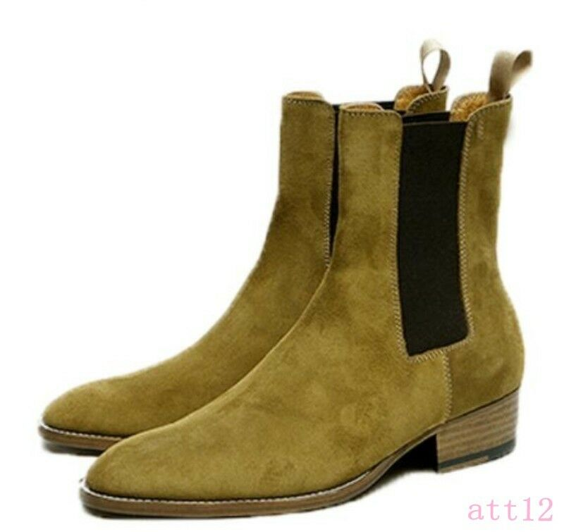 Mens Ankle Boot Chelsea Pull Leather  On Chic Real Leather Pull Pull On Suede Round Toe Shoes ff3d9a