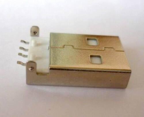 USB Einbaustecker Steckverbinder A gerade 180 Grad ultraflach Lötbuchse Kupplung