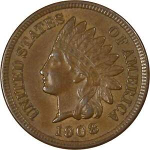 1908-1c-Indian-Head-Cent-Penny-US-Coin-AU-About-Uncirculated