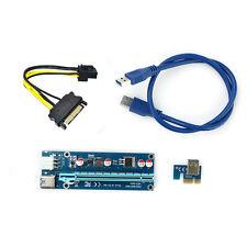 USB 3.0 PCI-E Express 1x  Extender Riser Card Karte Adapter 6PIN Power Kabel