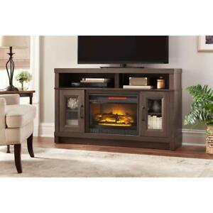 Freestanding Electric Infrared Fireplace Heater Tv Stand In Gray Oak 5 200 Btu 764053522895 Ebay