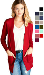 Women-039-s-Cardigan-Long-Sleeve-Open-Front-Draped-Sweater-Rib-Banded-w-Pockets