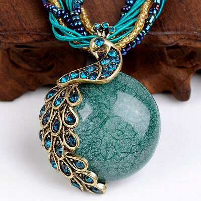 Vintage Fashion Womens Chain Cute Crystal Resin Peacock Pendant Necklace Jewelry