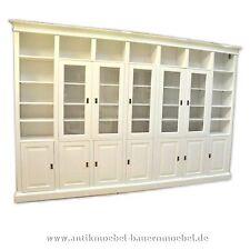 Wohnzimmerschrank,Bibliothek,Schrankwand,Massiv, Weichholz,Landhausstil, weiß