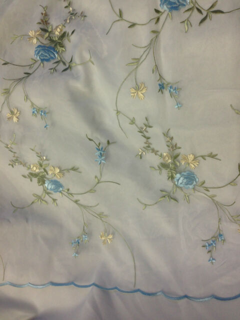 "2 Yards, Bouquet Flower Embroidered Organza with Scalloped Edges, 55"" Inches"