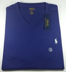 New-Authentic-Polo-Ralph-Lauren-Men-039-s-Custom-Fit-V-Neck-Cotton-T-Shirt-Navy
