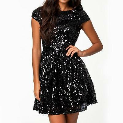 D17 - 1X 2X 3X Plus Size Cap Sleeves Sequins Skater Cocktail Club Dress Black