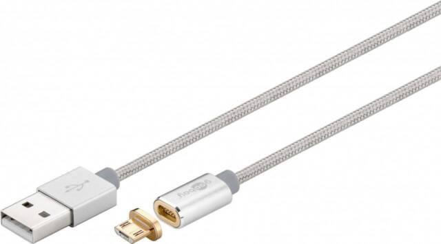 Magnetisches Micro USB Lade- und Synchronisationskabel Android-Geräte Silber