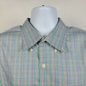 Peter-Millar-Brown-Green-Blue-Check-Plaid-Mens-Dress-Button-Shirt-Size-2XL-XXL