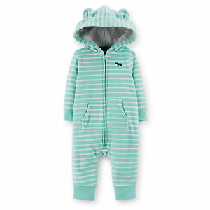 cadfdcffe NWT Carters Baby Boys turquois Hooded Fleece Jumpsuit Clothes 6 9 12 ...