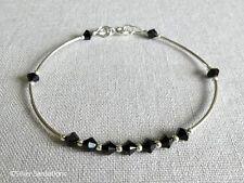 Jet Black Swarovski Crystals & Sterling Silver Curve Tubes Elegant Bracelet Gift