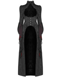 Punk-Rave-Womens-Gothic-Dress-Coat-Jacket-Long-Black-Brocade-Steampunk-Victorian