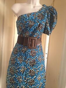 Sun One Shoulder Print Length Dress African Small Knee r6tq6PR