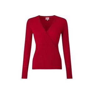 East Merino Wool Wrap Front Winter Knit TOP , RED - Size UK S/L/XL  - BNIP